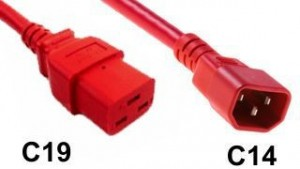 PDU Power cords C14 to C19 Red 14AWG